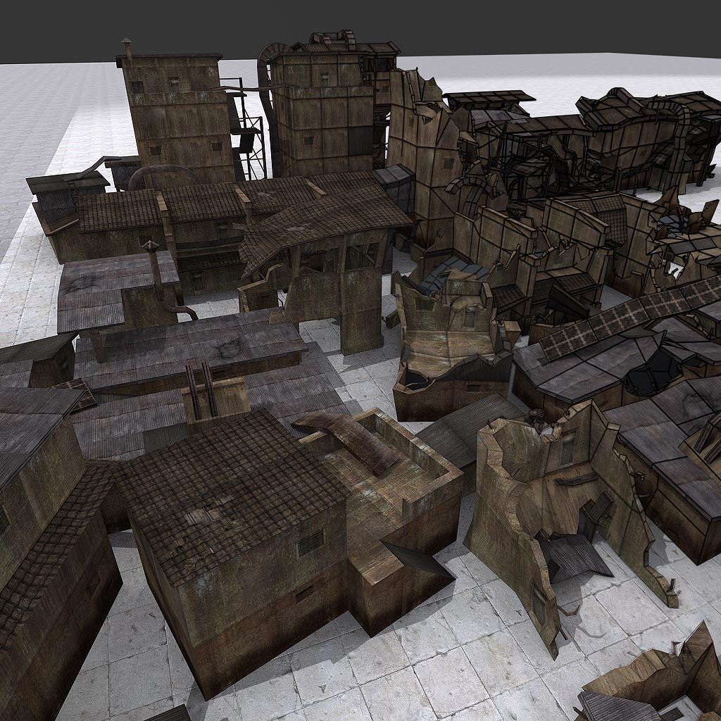 Stormrise old buildings wireframe