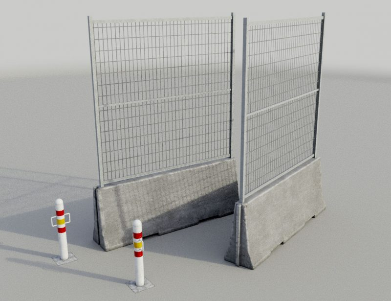 Concrete Barrier and Metal Bollards